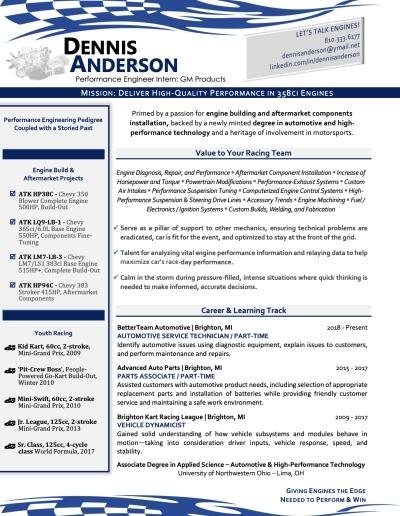 award-winning resume example